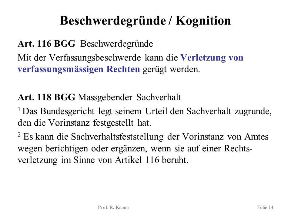 Prof. R. KienerFolie 14 Beschwerdegründe / Kognition Art. 116 BGG Beschwerdegründe Mit der Verfassungsbeschwerde kann die Verletzung von verfassungsmä