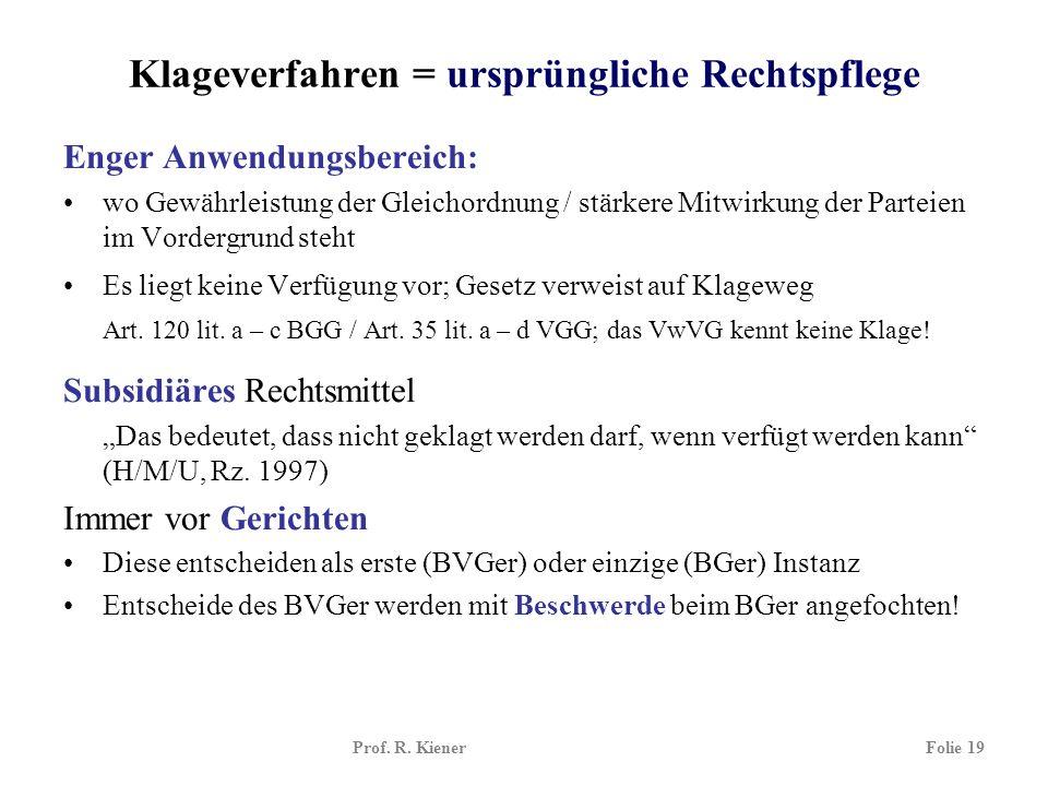 Prof. R. KienerFolie 19 Klageverfahren = ursprüngliche Rechtspflege Enger Anwendungsbereich: wo Gewährleistung der Gleichordnung / stärkere Mitwirkung