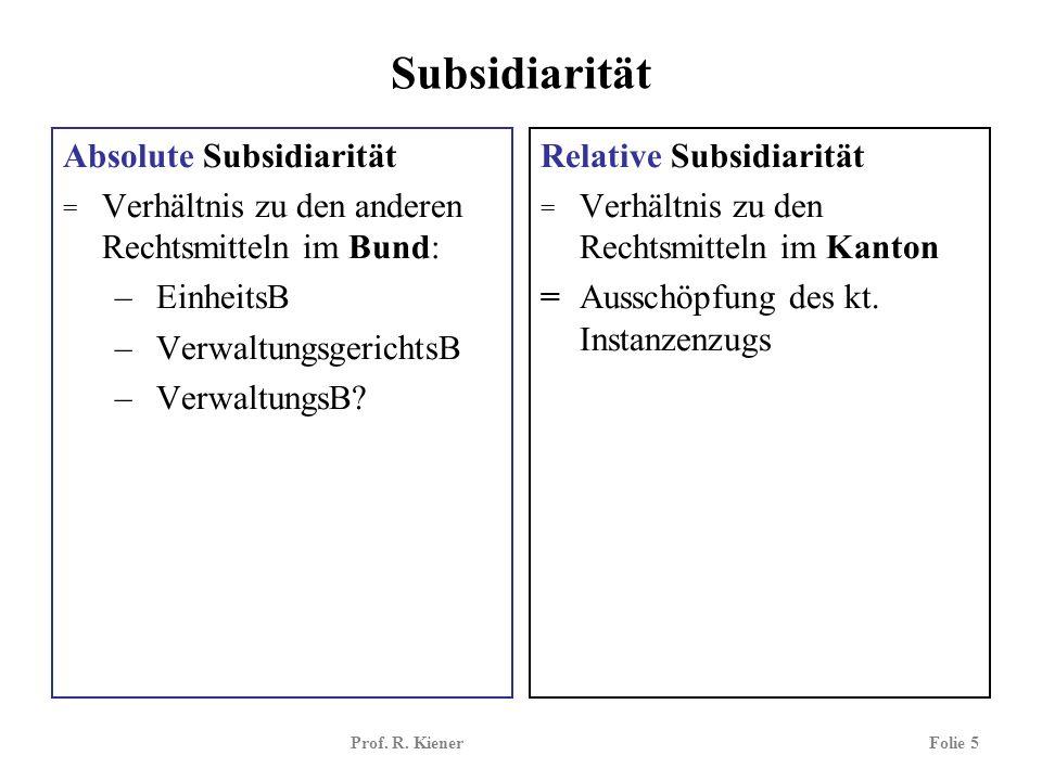 Prof. R. KienerFolie 5 Subsidiarität Absolute Subsidiarität = Verhältnis zu den anderen Rechtsmitteln im Bund: – EinheitsB – VerwaltungsgerichtsB – Ve