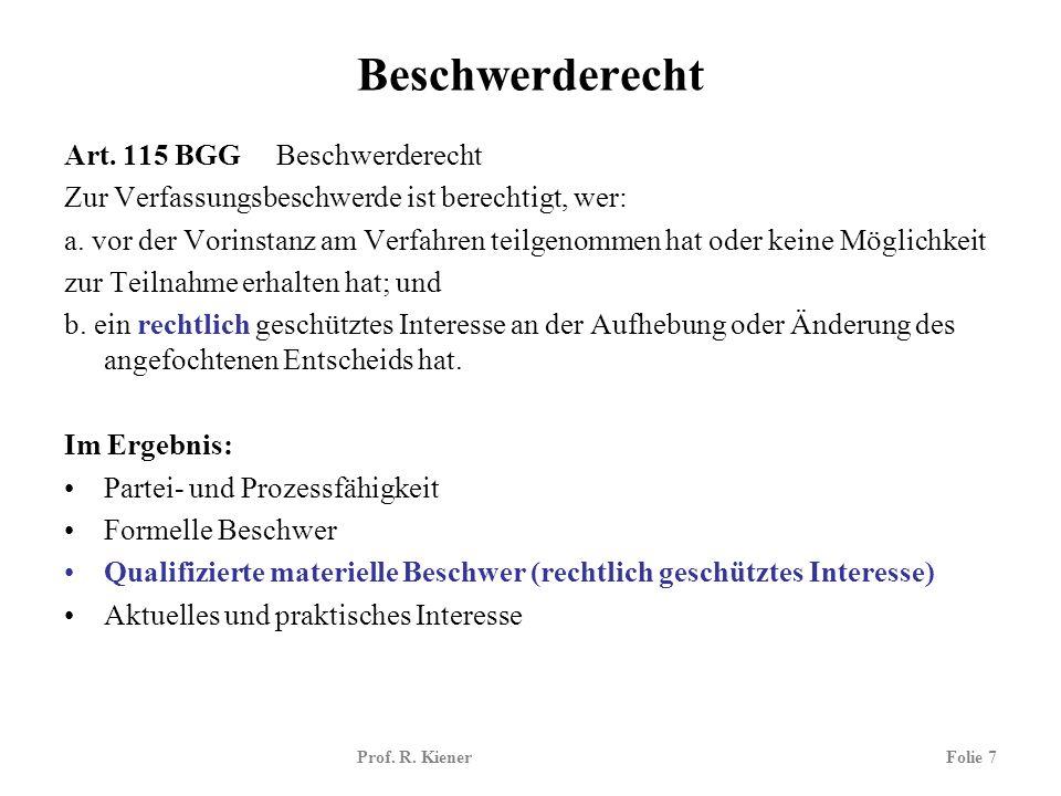 Prof. R. KienerFolie 7 Beschwerderecht Art. 115 BGG Beschwerderecht Zur Verfassungsbeschwerde ist berechtigt, wer: a. vor der Vorinstanz am Verfahren
