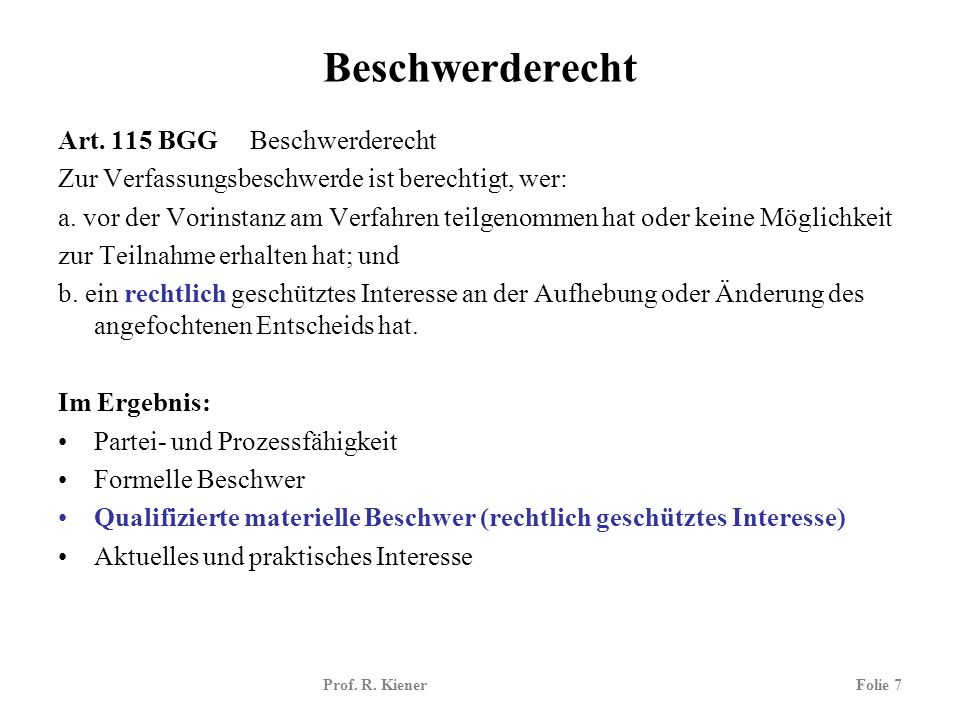 Prof.R. KienerFolie 18 Verfahrensrecht i.e.S.