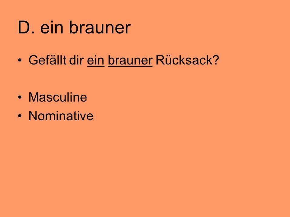 Gefällt dir ein brauner Rücksack? Masculine Nominative