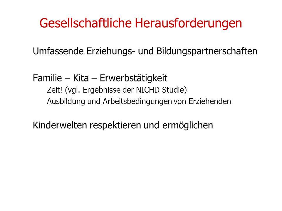 Gesellschaftliche Herausforderungen Umfassende Erziehungs- und Bildungspartnerschaften Familie – Kita – Erwerbstätigkeit Zeit! (vgl. Ergebnisse der NI