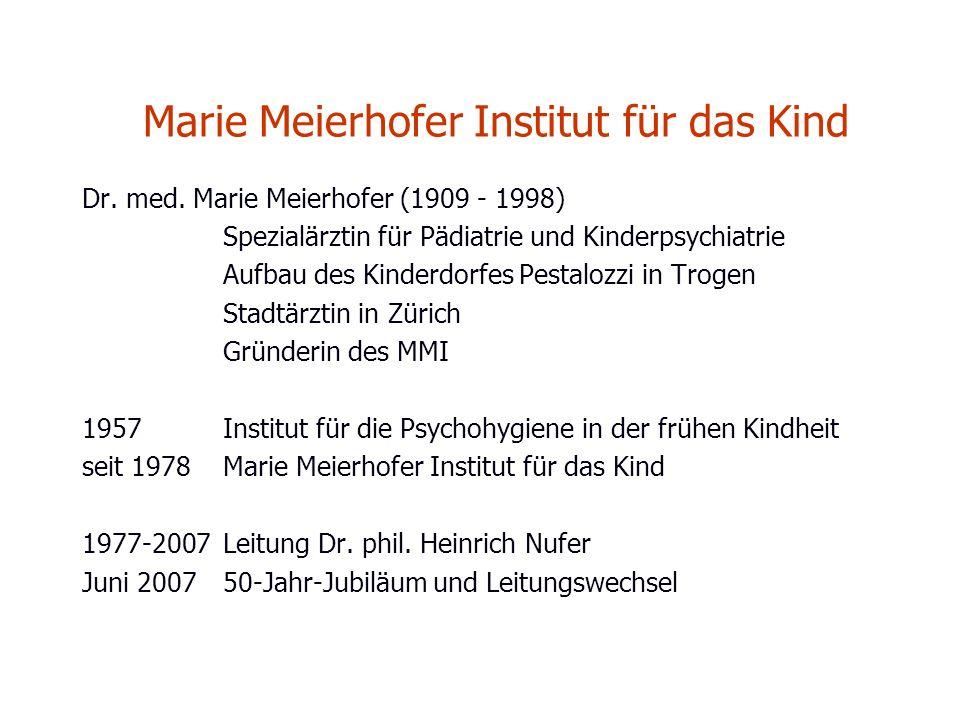 Marie Meierhofer Institut für das Kind Dr. med. Marie Meierhofer (1909 - 1998) Spezialärztin für Pädiatrie und Kinderpsychiatrie Aufbau des Kinderdorf