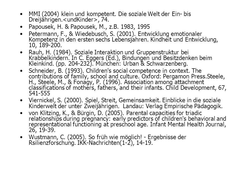 MMI (2004) klein und kompetent. Die soziale Welt der Ein- bis Dreijährigen., 74. Papousek, H. & Papousek, M., z.B. 1983, 1995 Petermann, F., & Wiedebu