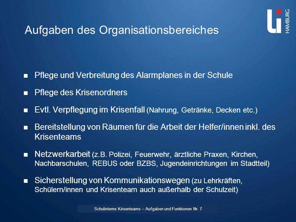 LI: Vorname Name Aufgaben des Organisationsbereiches Pflege und Verbreitung des Alarmplanes in der Schule Pflege des Krisenordners Evtl. Verpflegung i