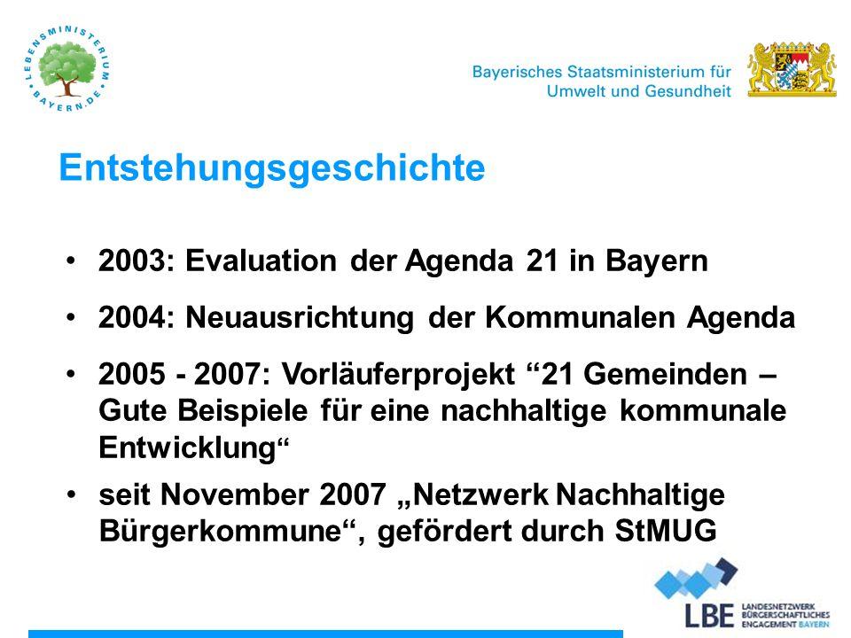 Stand 2013 Derzeit über 50 Kommunen Mitglied Bayerischer Gemeindetag strategischer Partner STMUV sieht die Netzwerkförderung und den - ausbau als nachhaltige Aufgabe