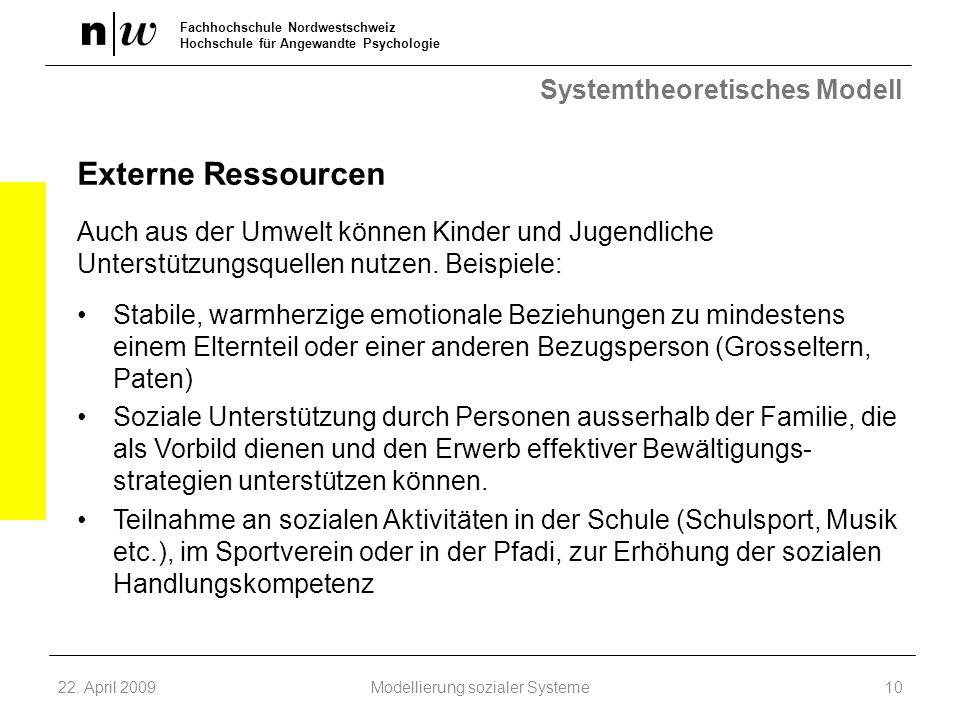 Fachhochschule Nordwestschweiz Hochschule für Angewandte Psychologie Systemtheoretisches Modell Externe Ressourcen Auch aus der Umwelt können Kinder u
