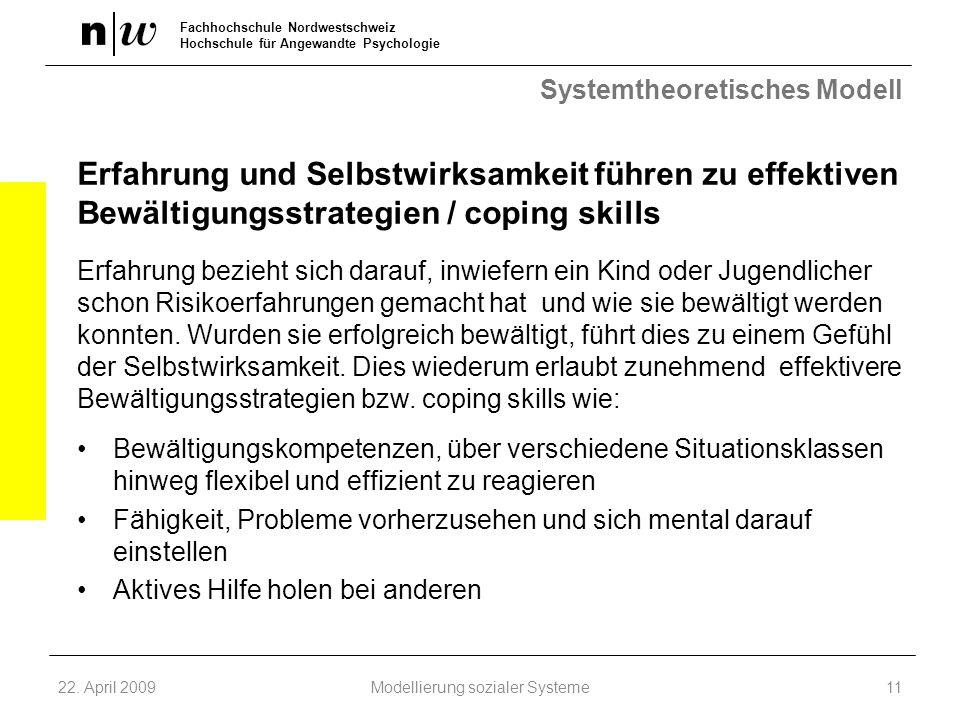 Fachhochschule Nordwestschweiz Hochschule für Angewandte Psychologie Systemtheoretisches Modell Erfahrung und Selbstwirksamkeit führen zu effektiven B