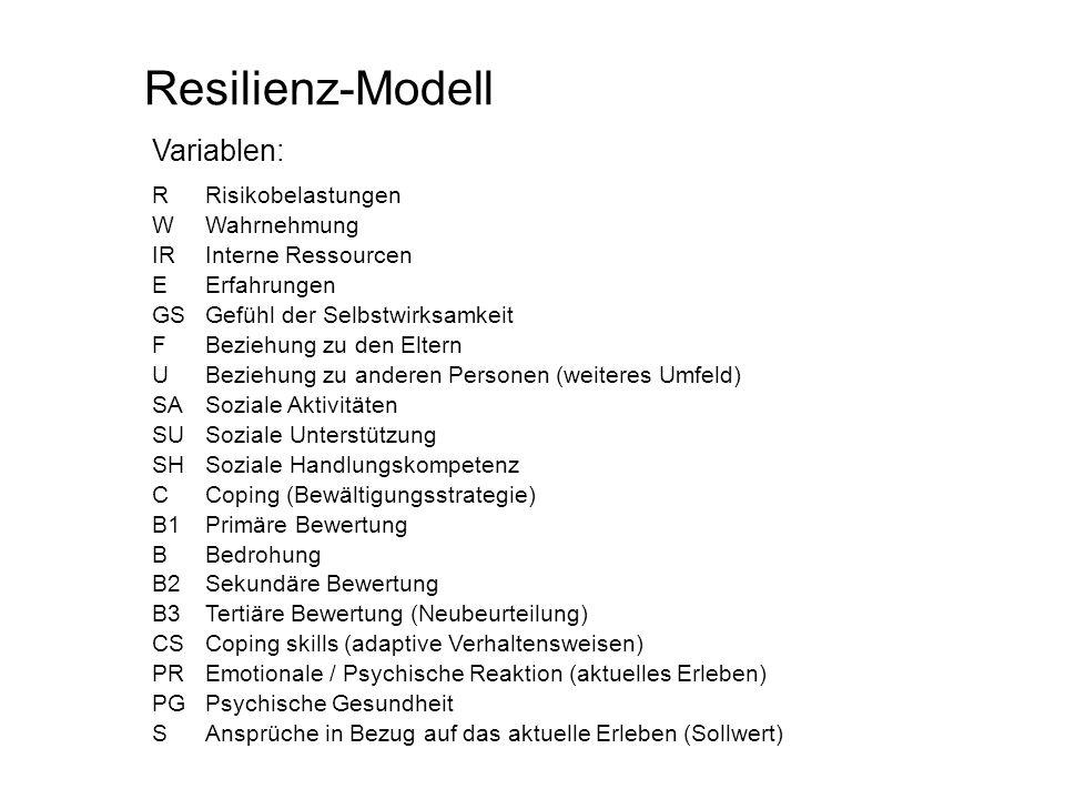 Resilienz-Modell Variablen: RRisikobelastungen W Wahrnehmung IRInterne Ressourcen EErfahrungen GSGefühl der Selbstwirksamkeit FBeziehung zu den Eltern