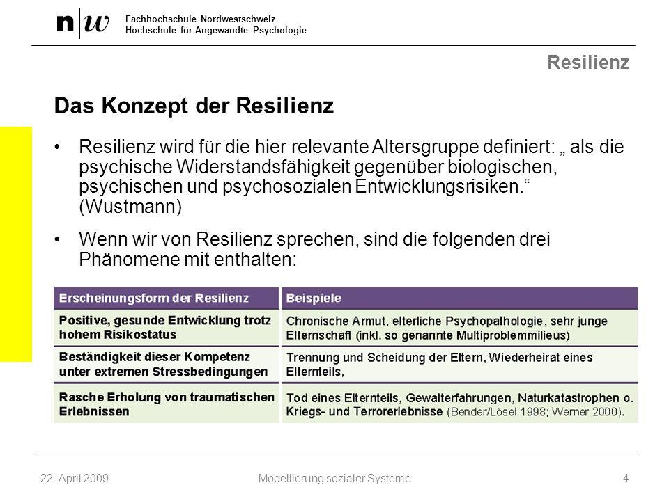 Fachhochschule Nordwestschweiz Hochschule für Angewandte Psychologie Resilienz Das Konzept der Resilienz Resilienz wird für die hier relevante Altersg