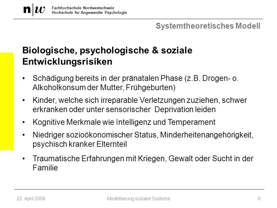 Fachhochschule Nordwestschweiz Hochschule für Angewandte Psychologie Systemtheoretisches Modell Biologische, psychologische & soziale Entwicklungsrisi