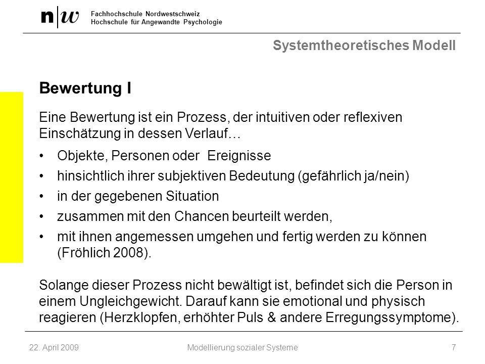 Fachhochschule Nordwestschweiz Hochschule für Angewandte Psychologie Systemtheoretisches Modell Bewertung I Eine Bewertung ist ein Prozess, der intuit
