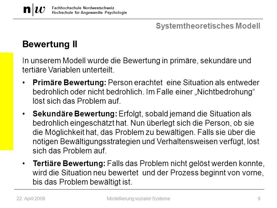 Fachhochschule Nordwestschweiz Hochschule für Angewandte Psychologie Systemtheoretisches Modell Bewertung II In unserem Modell wurde die Bewertung in