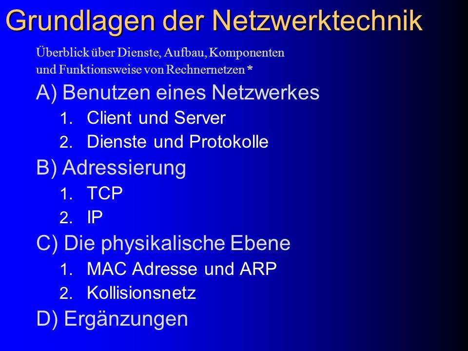 Grundlagen der Netzwerktechnik Überblick über Dienste, Aufbau, Komponenten und Funktionsweise von Rechnernetzen * A) Benutzen eines Netzwerkes 1. Clie