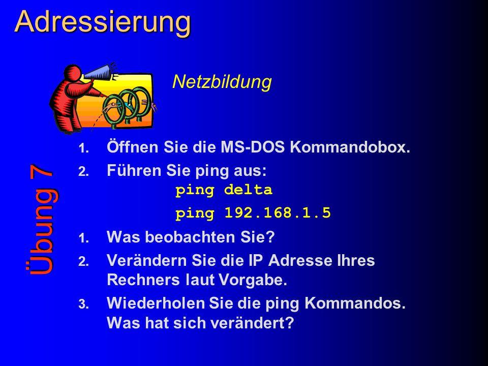 Adressierung 1. Öffnen Sie die MS-DOS Kommandobox. 2. Führen Sie ping aus: ping delta ping 192.168.1.5 1. Was beobachten Sie? 2. Verändern Sie die IP