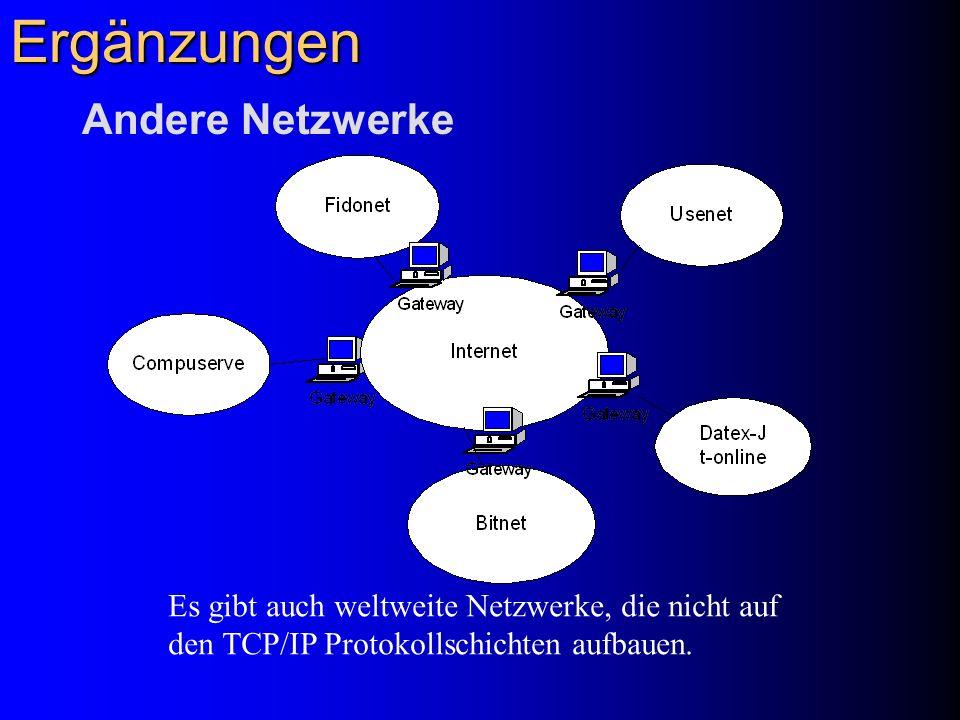 Ergänzungen Andere Netzwerke Es gibt auch weltweite Netzwerke, die nicht auf den TCP/IP Protokollschichten aufbauen.