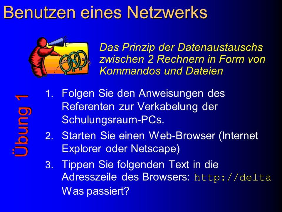 Benutzen eines Netzwerks 1. Folgen Sie den Anweisungen des Referenten zur Verkabelung der Schulungsraum-PCs. 2. Starten Sie einen Web-Browser (Interne