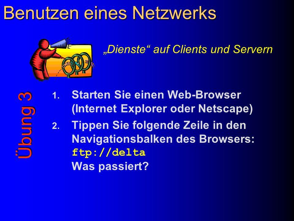 Benutzen eines Netzwerks 1. Starten Sie einen Web-Browser (Internet Explorer oder Netscape) 2. Tippen Sie folgende Zeile in den Navigationsbalken des