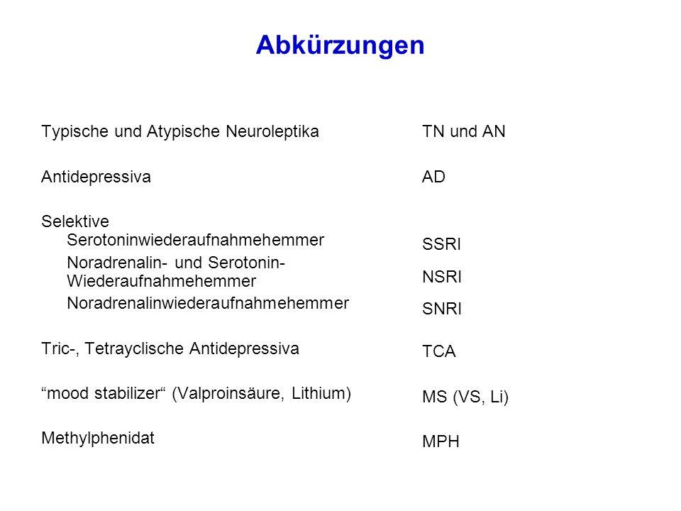 Übersicht Substanzen und Störungsbilder ICD-10StörungenStoffgruppenSubstanzen F2xPsychosenAN, TN, MS, AD F3xDepression Bipolare Störungen SSRI, MS MS, AN, SSRI F4xÄngste und Phobien Zwangsstörungen PTSD SSRI, Andere SSRI, AN, TCA SSRI F5xBulimie (und Anorexie)SSRI (und AN) F6xPersönlichkeitsstörung (Selbstverletzungen) AN, SSRI F8xTiefgreifende Entwicklungsstörungen AN, SSRI F9xADHS + / - SSV Ticstörungen Stimulantien, AN AN, Andere