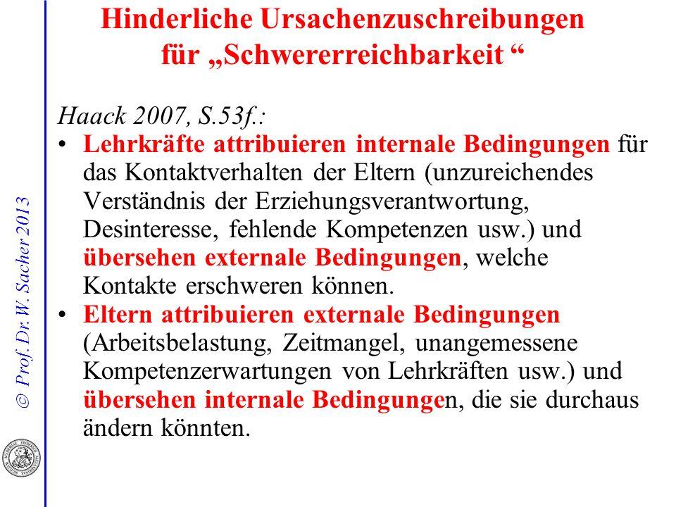 Prof. Dr. W. Sacher 2013 Haack 2007, S.53f.: Lehrkräfte attribuieren internale Bedingungen für das Kontaktverhalten der Eltern (unzureichendes Verstän