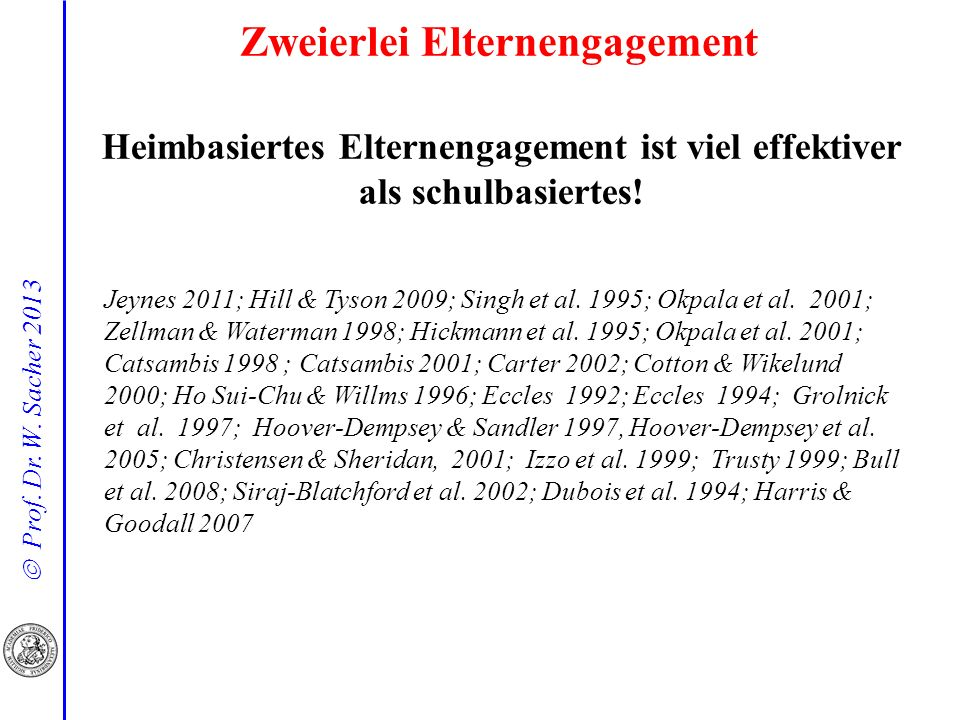 Prof. Dr. W. Sacher 2013 Heimbasiertes Elternengagement ist viel effektiver als schulbasiertes! Jeynes 2011; Hill & Tyson 2009; Singh et al. 1995; Okp