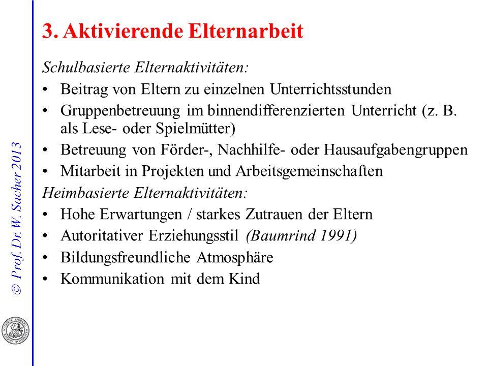Prof. Dr. W. Sacher 2013 Schulbasierte Elternaktivitäten: Beitrag von Eltern zu einzelnen Unterrichtsstunden Gruppenbetreuung im binnendifferenzierten