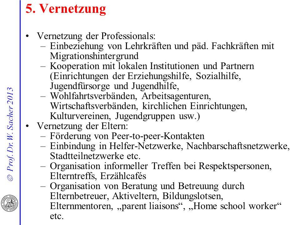 Prof. Dr. W. Sacher 2013 5. Vernetzung Vernetzung der Professionals: –Einbeziehung von Lehrkräften und päd. Fachkräften mit Migrationshintergrund –Koo