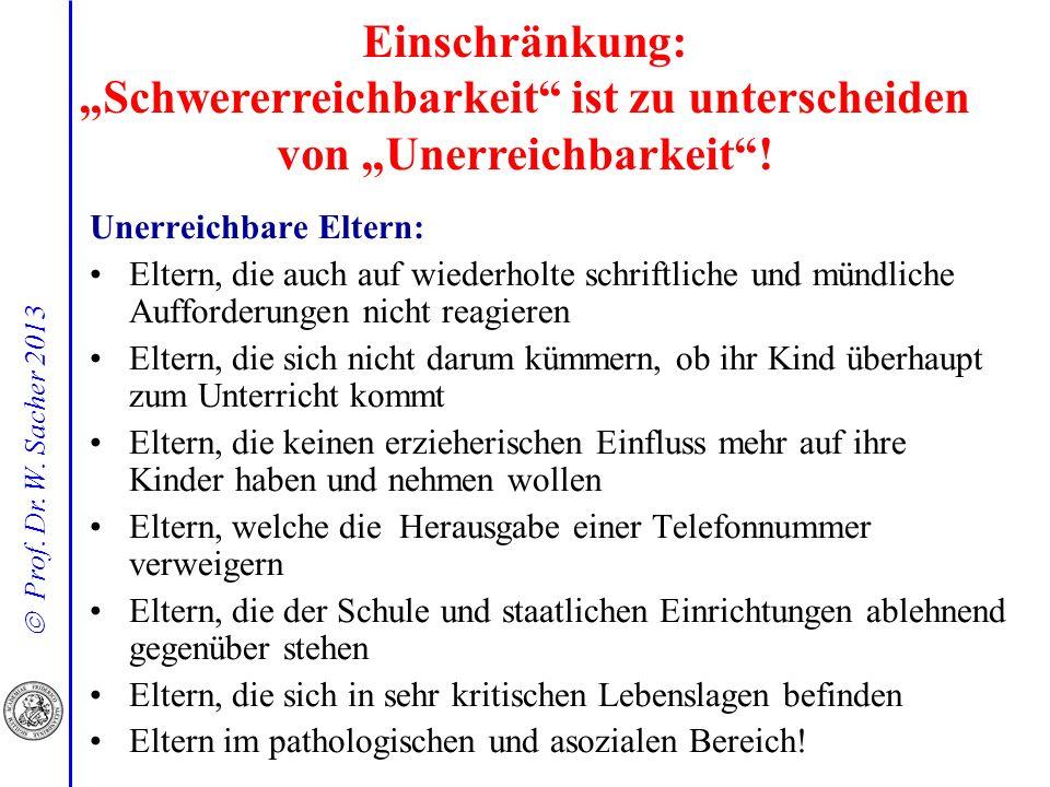 Prof. Dr. W. Sacher 2013 Einschränkung: Schwererreichbarkeit ist zu unterscheiden von Unerreichbarkeit! Unerreichbare Eltern: Eltern, die auch auf wie