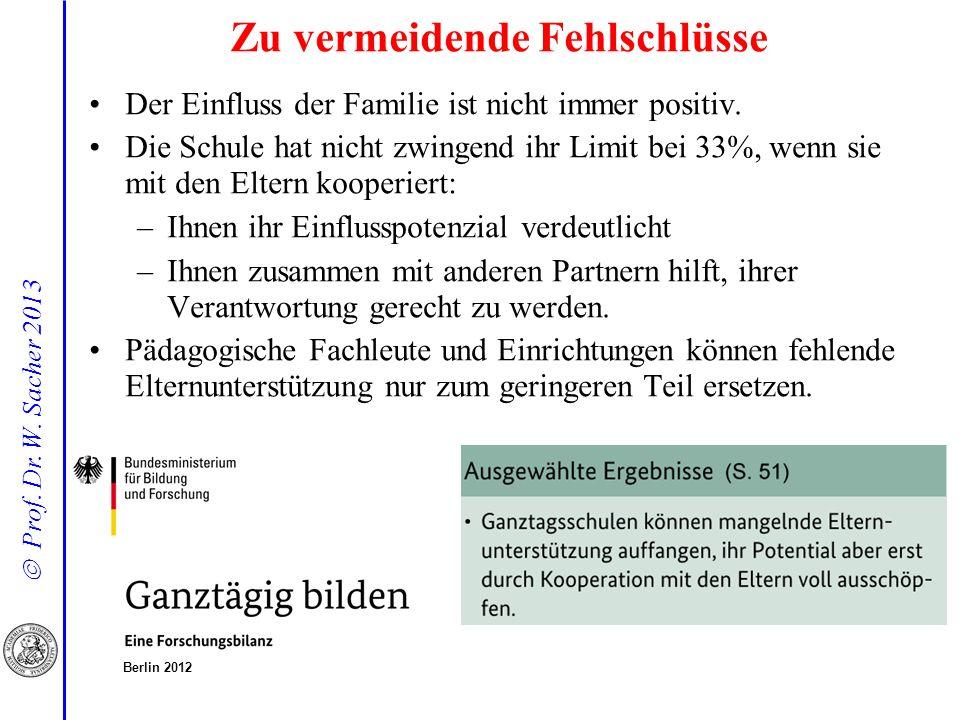 Prof. Dr. W. Sacher 2013 Der Einfluss der Familie ist nicht immer positiv. Die Schule hat nicht zwingend ihr Limit bei 33%, wenn sie mit den Eltern ko