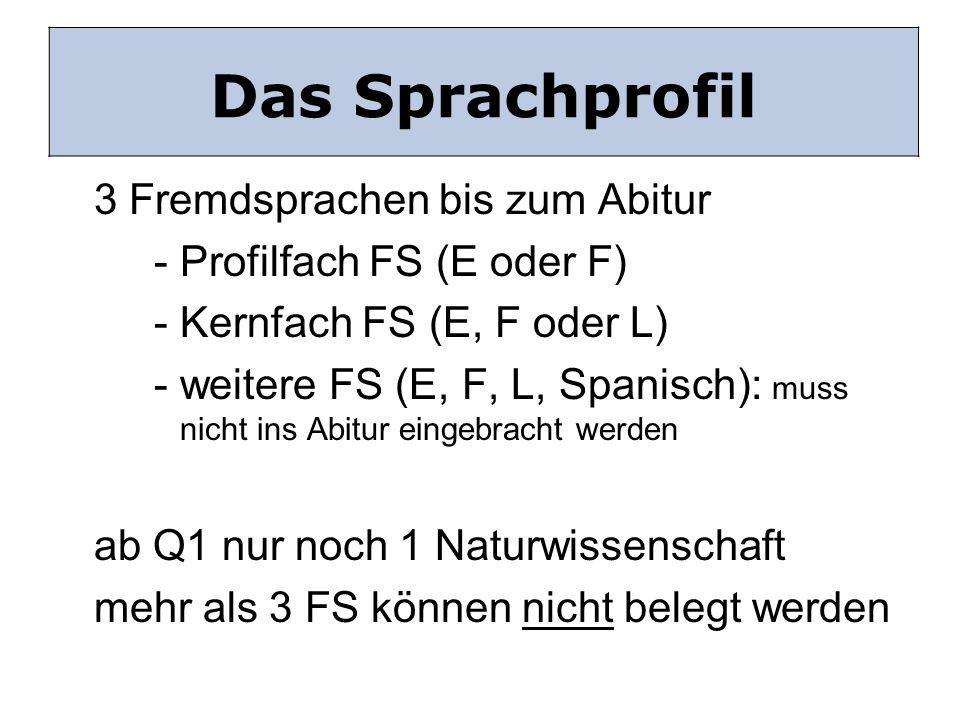 Das sprachliche Profil 3 Fremdsprachen bis zum Abitur - Profilfach FS (E oder F) - Kernfach FS (E, F oder L) - weitere FS (E, F, L, Spanisch): muss ni