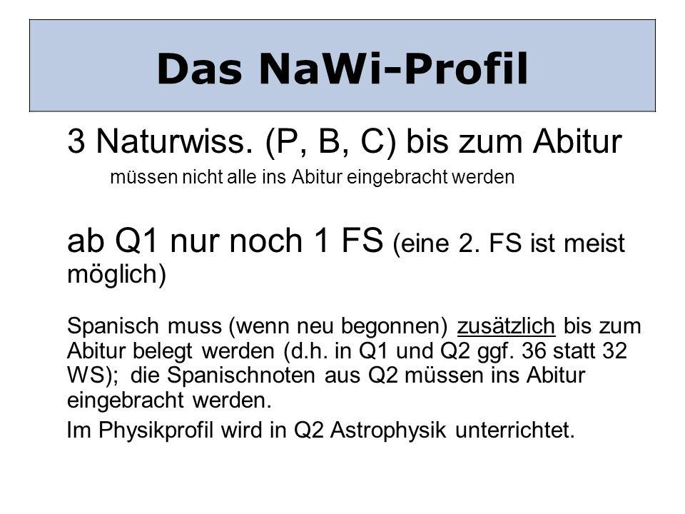 Das NaWi Profil 3 Naturwiss. (P, B, C) bis zum Abitur müssen nicht alle ins Abitur eingebracht werden ab Q1 nur noch 1 FS (eine 2. FS ist meist möglic