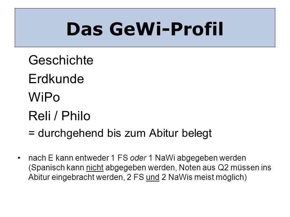 Das GeWi Profil Geschichte Erdkunde WiPo Reli / Philo = durchgehend bis zum Abitur belegt nach E kann entweder 1 FS oder 1 NaWi abgegeben werden (Span