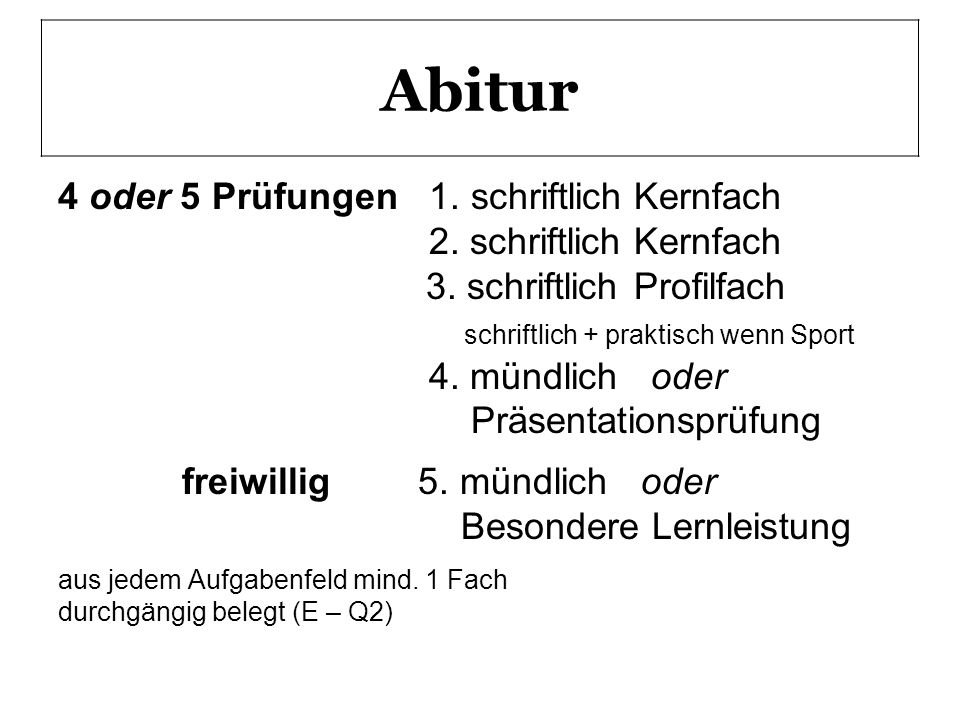 Abitur 4 oder 5 Prüfungen 1. schriftlichKernfach 2. schriftlichKernfach 3. schriftlichProfilfach schriftlich + praktisch wenn Sport 4. mündlich oder P