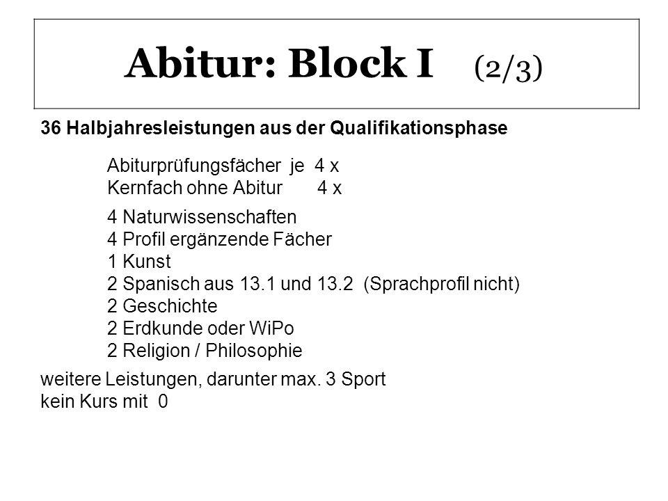 Abitur: Block I (2/3) 36 Halbjahresleistungen aus der Qualifikationsphase Abiturprüfungsfächer je 4 x Kernfach ohne Abitur 4 x 4 Naturwissenschaften 4