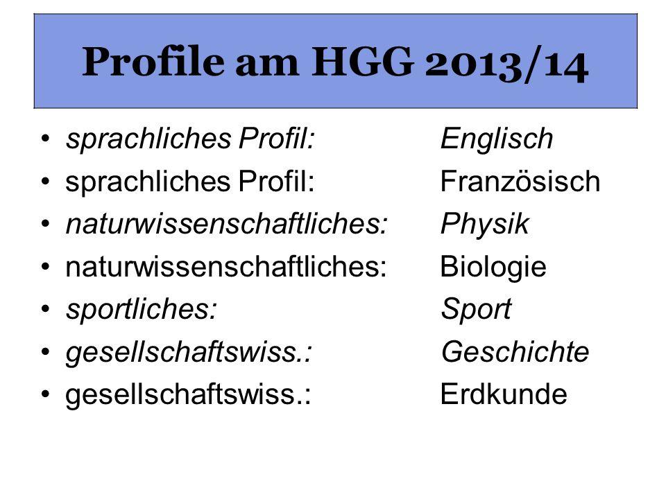Profile am HGG sprachliches Profil: Englisch sprachliches Profil: Französisch naturwissenschaftliches: Physik naturwissenschaftliches: Biologie sportl