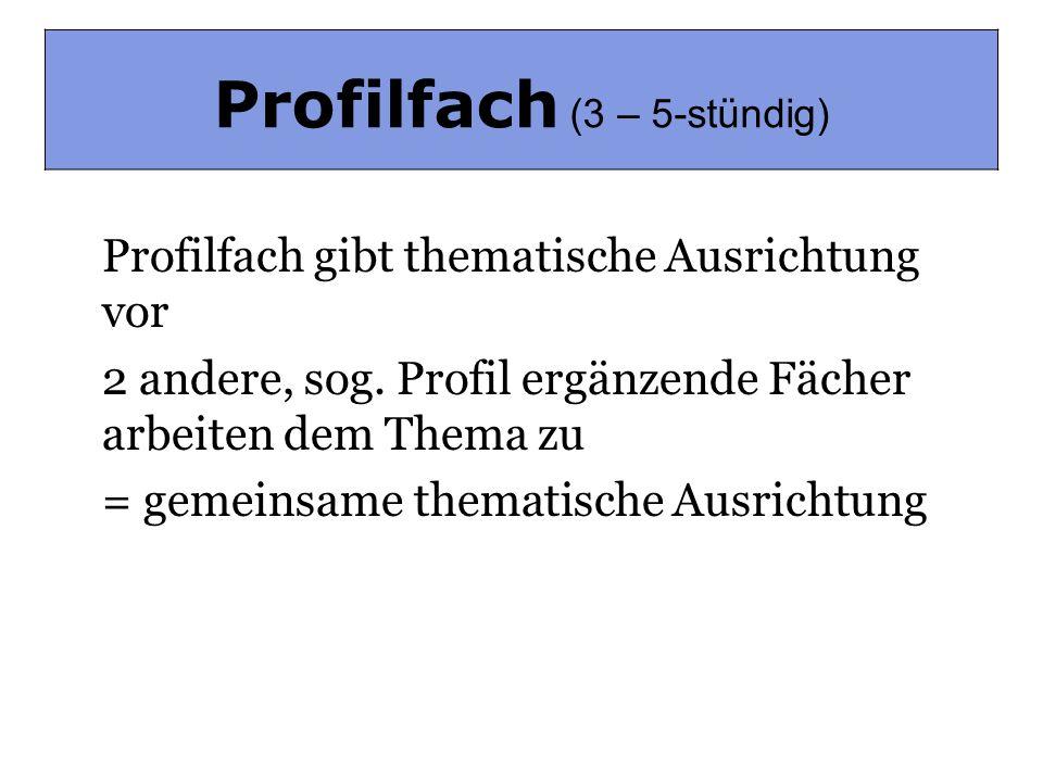 Profilfach (3-5-stündig) Profilfach gibt thematische Ausrichtung vor 2 andere, sog. Profil ergänzende Fächer arbeiten dem Thema zu = gemeinsame themat