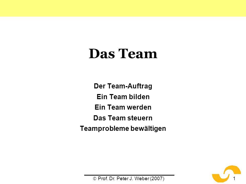Prof. Dr. Peter J. Weber (2007)1 Das Team Der Team-Auftrag Ein Team bilden Ein Team werden Das Team steuern Teamprobleme bewältigen