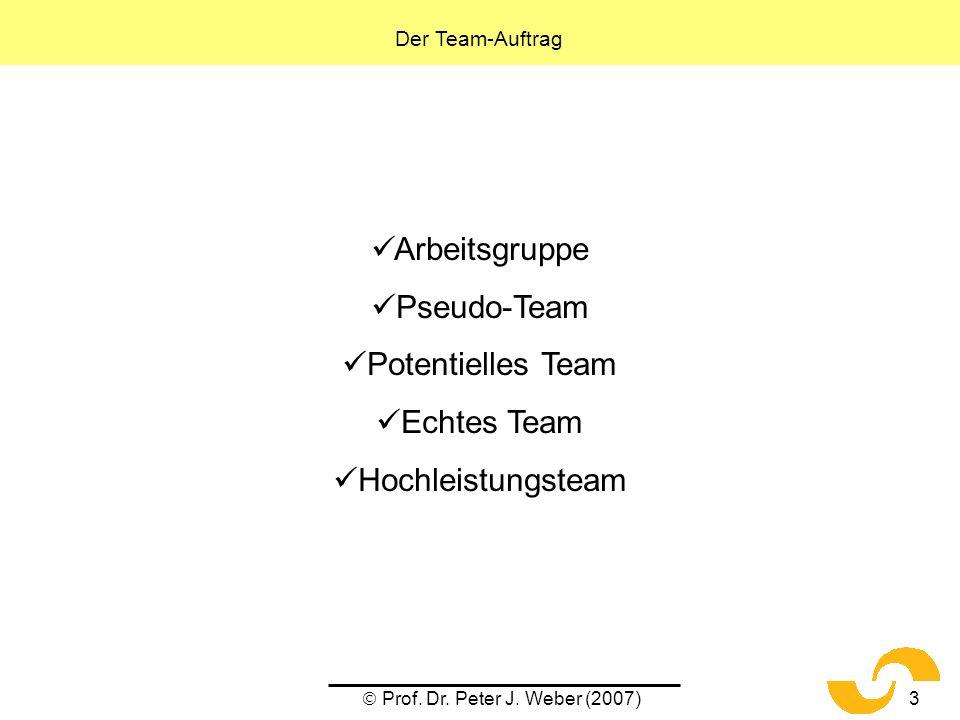 Prof. Dr. Peter J. Weber (2007)3 Arbeitsgruppe Pseudo-Team Potentielles Team Echtes Team Hochleistungsteam Der Team-Auftrag