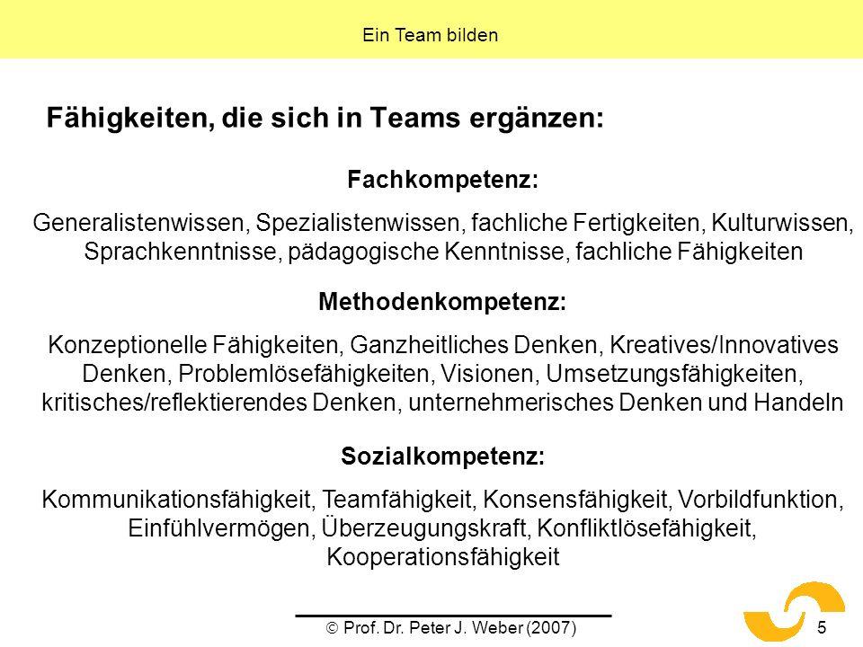 Prof. Dr. Peter J. Weber (2007)5 Fähigkeiten, die sich in Teams ergänzen: Fachkompetenz: Generalistenwissen, Spezialistenwissen, fachliche Fertigkeite