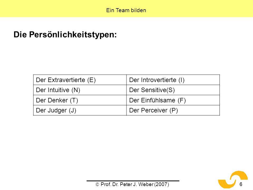 Prof. Dr. Peter J. Weber (2007)6 Die Persönlichkeitstypen: Ein Team bilden Der Extravertierte (E)Der Introvertierte (I) Der Intuitive (N)Der Sensitive