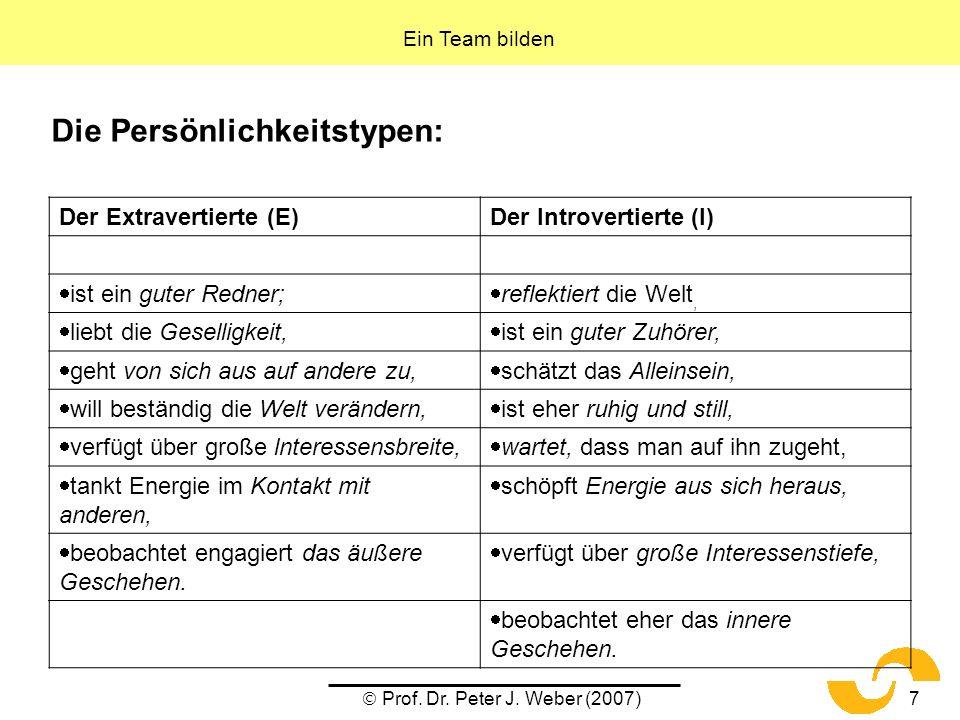 Prof. Dr. Peter J. Weber (2007)7 Die Persönlichkeitstypen: Ein Team bilden Der Extravertierte (E)Der Introvertierte (I) ist ein guter Redner; reflekti