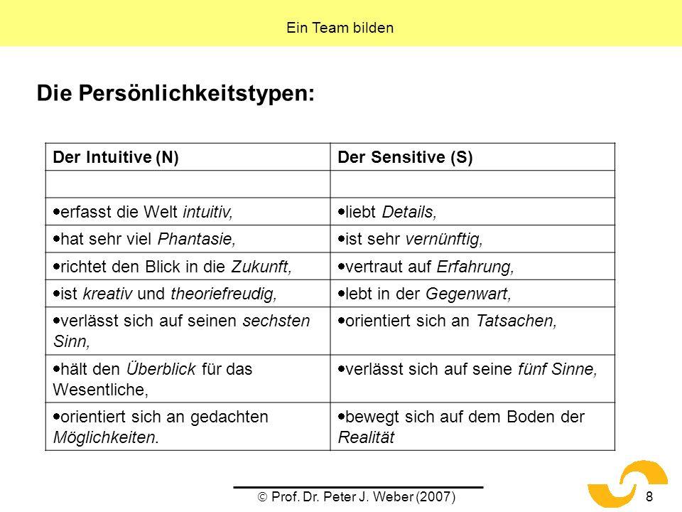 Prof. Dr. Peter J. Weber (2007)8 Die Persönlichkeitstypen: Ein Team bilden Der Intuitive (N)Der Sensitive (S) erfasst die Welt intuitiv, liebt Details