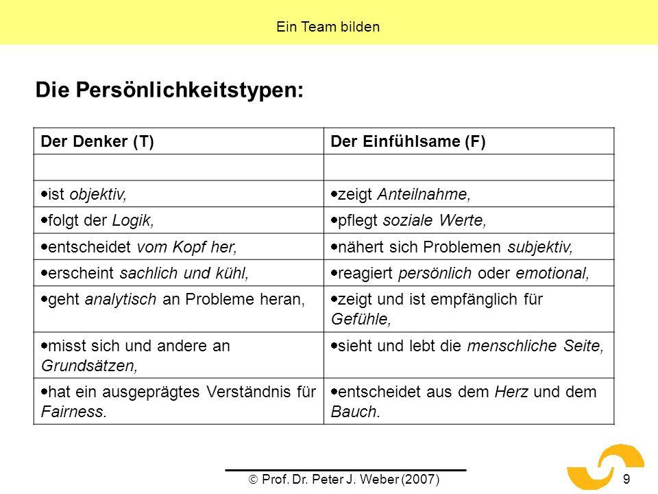 Prof. Dr. Peter J. Weber (2007)9 Die Persönlichkeitstypen: Ein Team bilden Der Denker (T)Der Einfühlsame (F) ist objektiv, zeigt Anteilnahme, folgt de