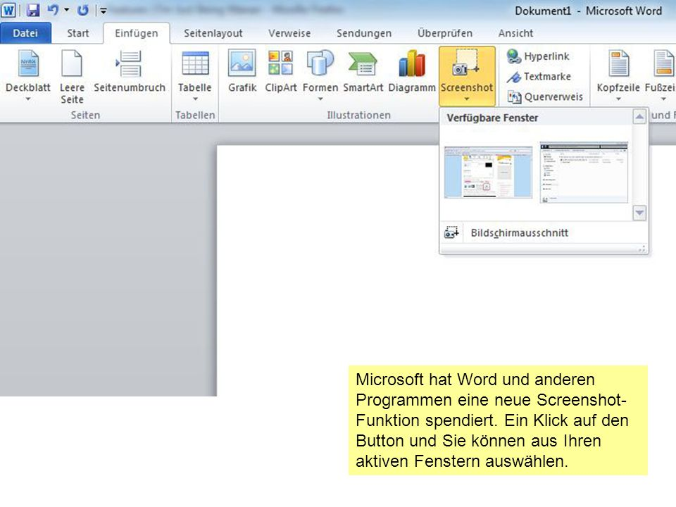 Microsoft hat Word und anderen Programmen eine neue Screenshot- Funktion spendiert.
