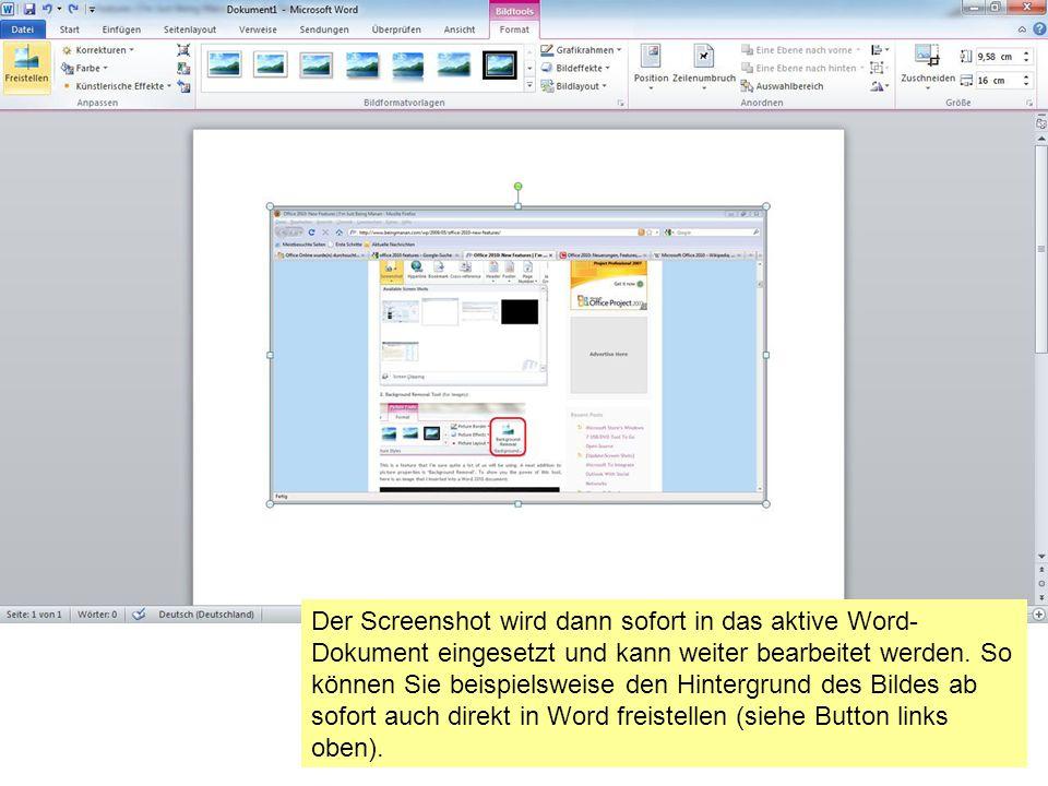 Der Screenshot wird dann sofort in das aktive Word- Dokument eingesetzt und kann weiter bearbeitet werden.