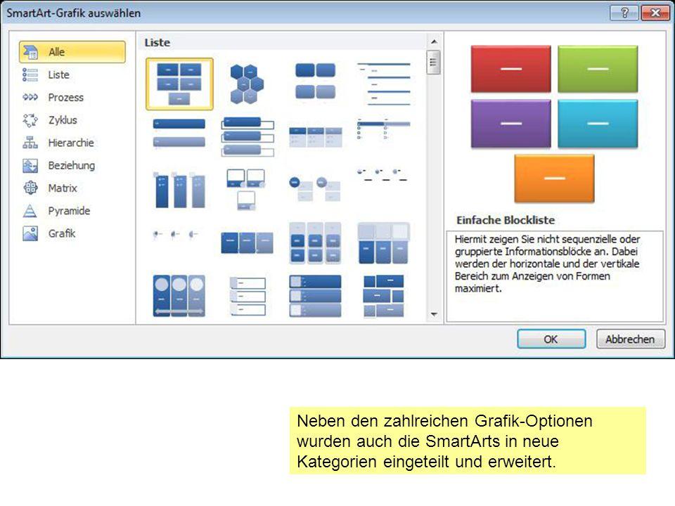 Neben den zahlreichen Grafik-Optionen wurden auch die SmartArts in neue Kategorien eingeteilt und erweitert.