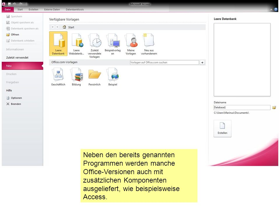 Neben den bereits genannten Programmen werden manche Office-Versionen auch mit zusätzlichen Komponenten ausgeliefert, wie beispielsweise Access.