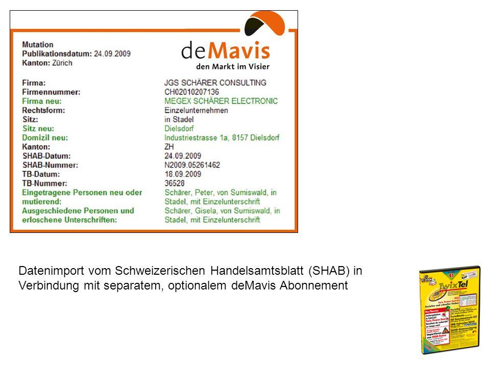 Datenimport vom Schweizerischen Handelsamtsblatt (SHAB) in Verbindung mit separatem, optionalem deMavis Abonnement