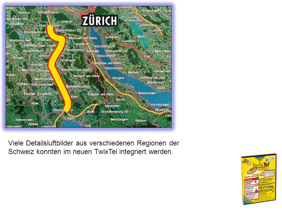 Viele Detailsluftbilder aus verschiedenen Regionen der Schweiz konnten im neuen TwixTel integriert werden.
